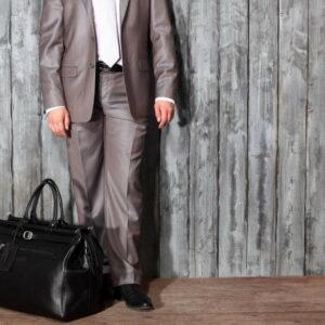 Кожаная черная мужская сумка BRL-149 233344