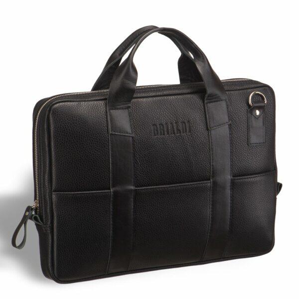 Кожаная черная мужская сумка BRL-9547