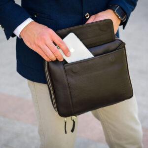 Удобная коричневая мужская сумка BRL-19878 234599