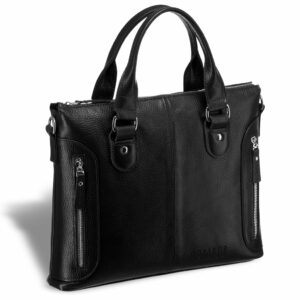 Кожаная черная мужская сумка BRL-17805