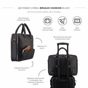 Вместительный черный мужской портфель рюкзак BRL-23165