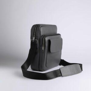 Кожаная серая мужская сумка через плечо FBR-1720 235851