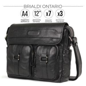 Удобная черная мужская сумка для документов BRL-12995