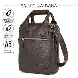 Кожаная коричневая мужская сумка мессенджер BRL-13000
