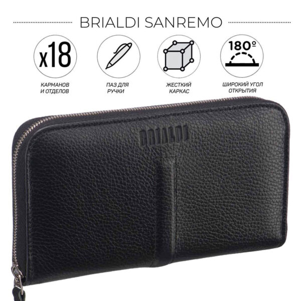 Солидный черный мужской кожаный кошелек BRL-26754