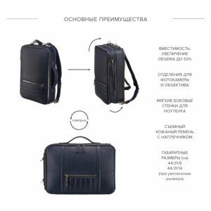 Функциональная синяя мужская сумка для документов BRL-23146 234959