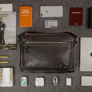 Вместительная коричневая мужская сумка через плечо BRL-19858 234490