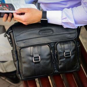 Удобная черная мужская сумка для документов BRL-12995 234145