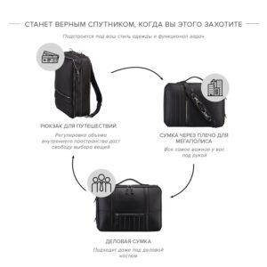 Функциональная черная мужская деловая сумка трансформер BRL-23143 234888