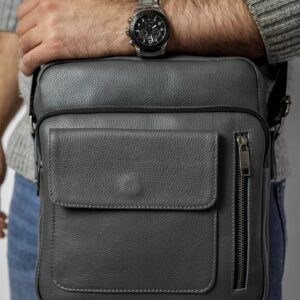 Кожаная серая мужская сумка через плечо FBR-1720 235850