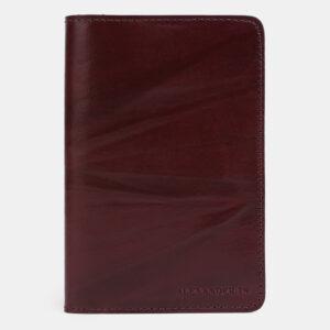Кожаная бордовая обложка для паспорта ATS-4039