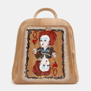 Кожаный бежевый рюкзак с росписью ATS-4058