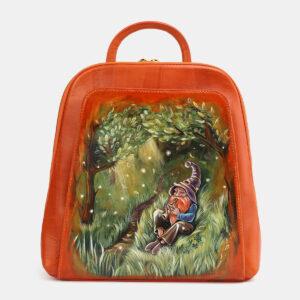 Солидный оранжевый рюкзак с росписью ATS-4059