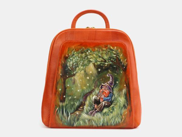 Удобный оранжевый рюкзак с росписью ATS-4059