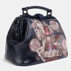 Уникальная синяя сумка с росписью ATS-4061 233192