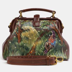 Неповторимая светло-коричневая сумка с росписью ATS-4060