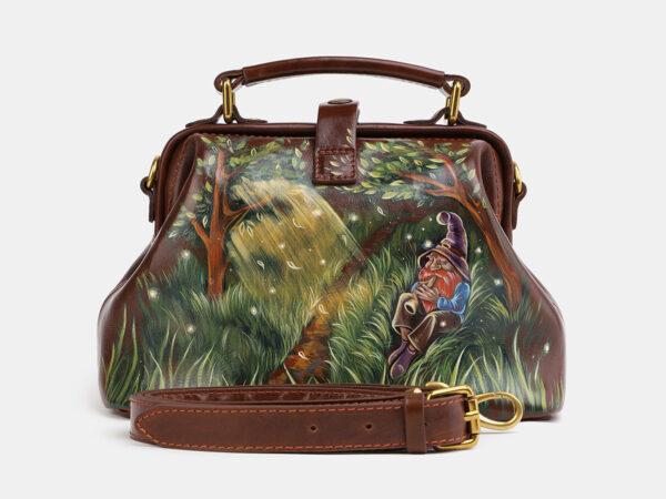 Стильная светло-коричневая сумка с росписью ATS-4060