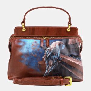 Модная светло-коричневая сумка с росписью ATS-4062
