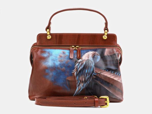 Удобная светло-коричневая сумка с росписью ATS-4062