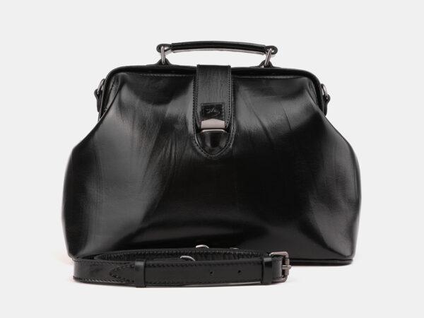 Кожаная черная женская сумка ATS-3913