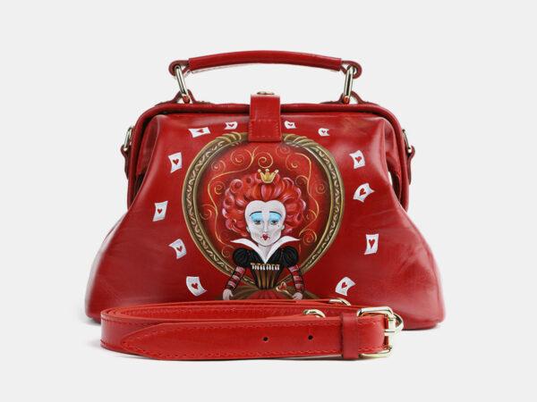 Функциональная красная сумка с росписью ATS-4099