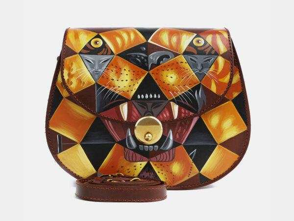 Вместительный светло-коричневый клатч с росписью ATS-4100