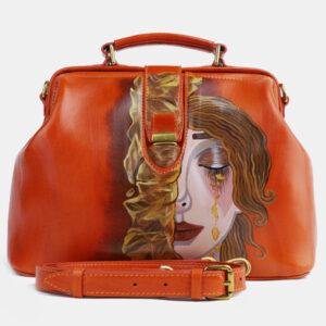 Вместительная оранжевая сумка с росписью ATS-4098