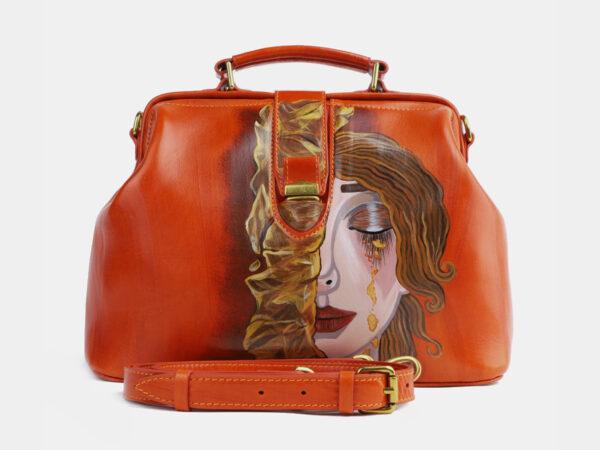 Удобная оранжевая сумка с росписью ATS-4098