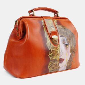 Удобная оранжевая сумка с росписью ATS-4098 236306