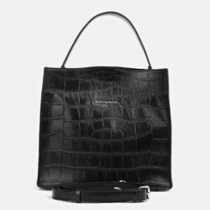 Кожаная черная женская сумка ATS-4097