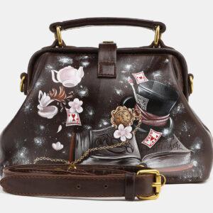 Вместительная коричневая сумка с росписью ATS-4124