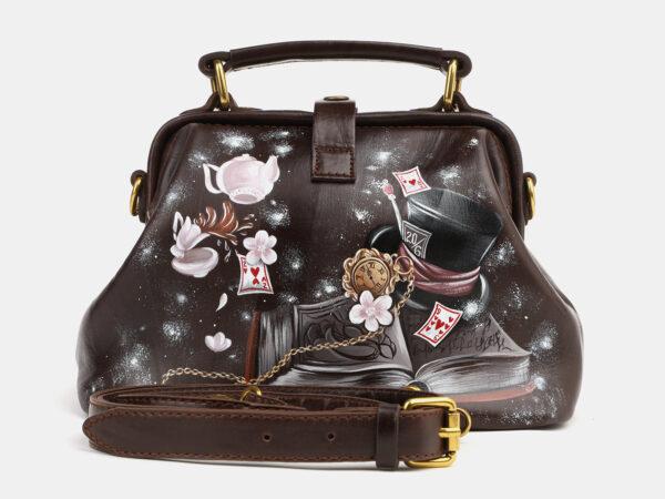 Деловая коричневая сумка с росписью ATS-4124