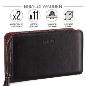 Стильный черный мужской кожаный кошелек BRL-7600