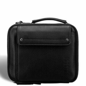 Кожаная черная мужская сумка мессенджер BRL-19879 234621