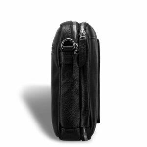 Кожаная черная мужская сумка мессенджер BRL-19879 234611