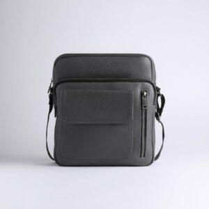 Кожаная серая мужская сумка через плечо FBR-1720