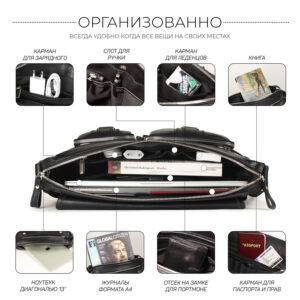 Удобная черная мужская сумка для документов BRL-12995 234167