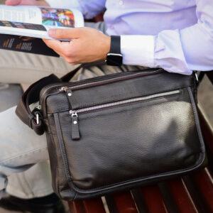 Вместительная коричневая мужская сумка через плечо BRL-19858 234467