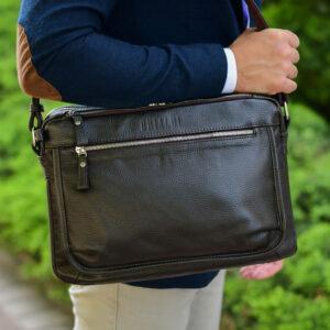 Вместительная коричневая мужская сумка через плечо BRL-19858 234476