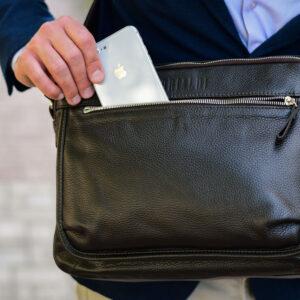 Вместительная коричневая мужская сумка через плечо BRL-19858 234483