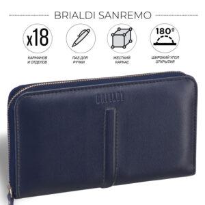 Кожаная синяя мужская сумка для мобильного телефона BRL-19827