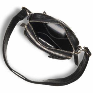 Кожаная черная мужская сумка мессенджер BRL-19879 234642