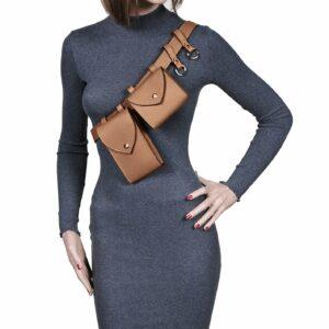 Вместительная темно-оранжевая женская поясная сумка FBR-2454 236560
