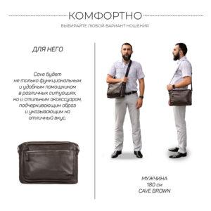 Вместительная коричневая мужская сумка через плечо BRL-19858 234513