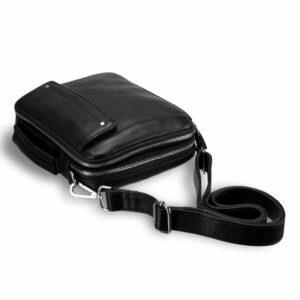 Кожаная черная мужская сумка мессенджер BRL-19879 234626