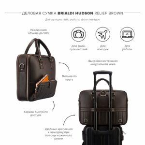 Функциональный коричневый мужской портфель рюкзак BRL-23167
