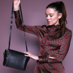 Солидная черная женская сумка через плечо FBR-2600 236856