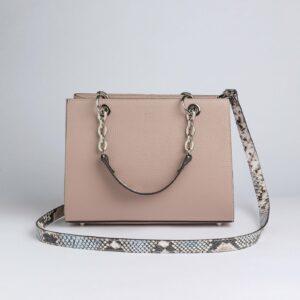 Кожаная бежевая женская сумка FBR-2884