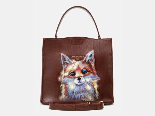 Уникальная светло-коричневая сумка с росписью ATS-4132