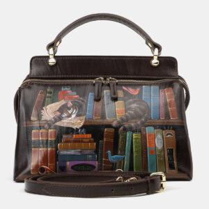 Функциональная коричневая сумка с росписью ATS-4133